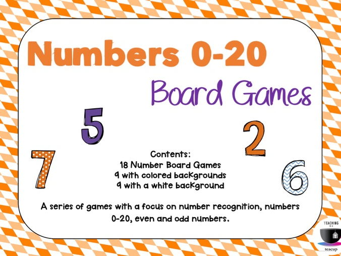 Number Recognition Board Games 0-20