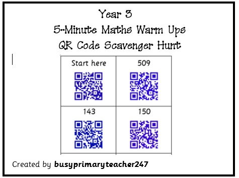 Year 3 Maths Warm Up - QR Code Scavenger Hunt 3
