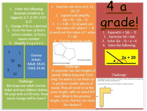 New GCSE foundation mixed starter activity 1 and 2