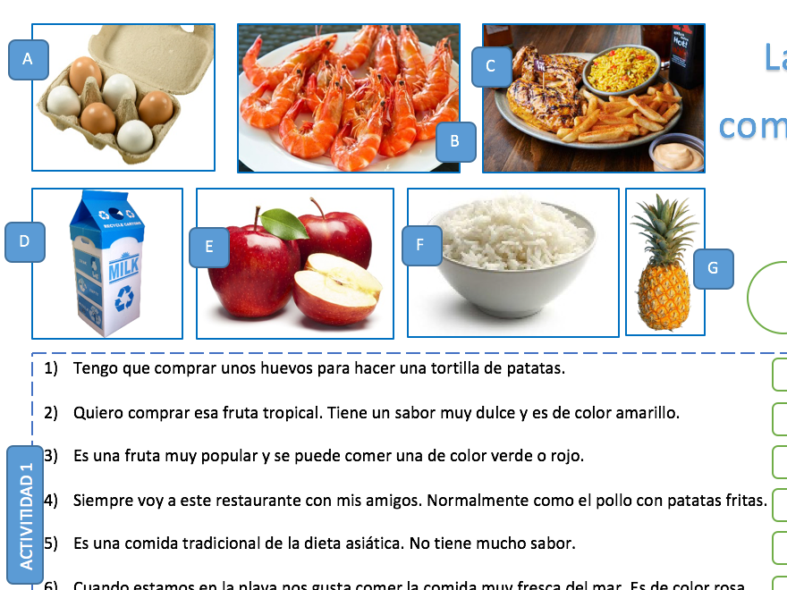FREE LA COMIDA // FOOD - SPANISH GCSE WORKSHEET - EXAM STYLE QUESTIONS