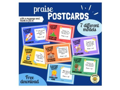 Postales refuerzo positivo. Praise cards. 7 templates Spanish/English. With and without a message