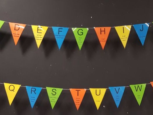 Drama Alphabet bunting display
