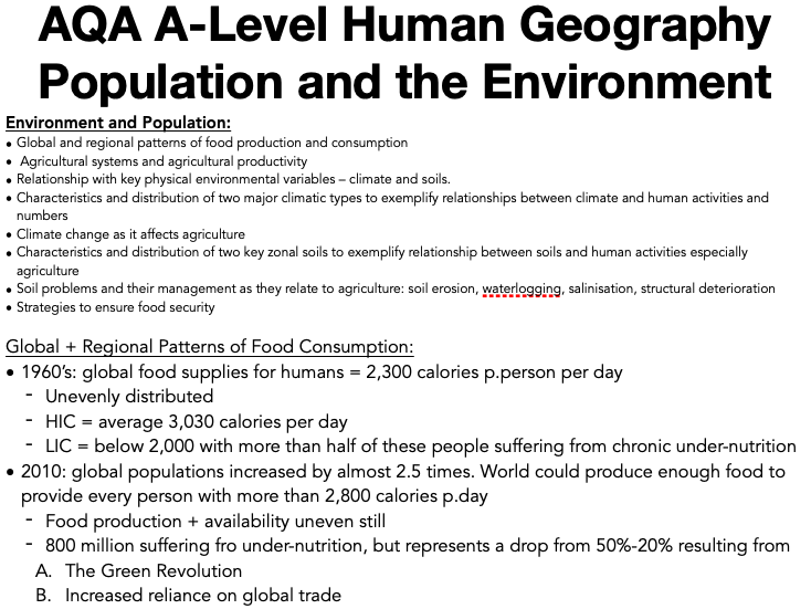 AQA A Level Geography: Population and the Environment - Environment and Population