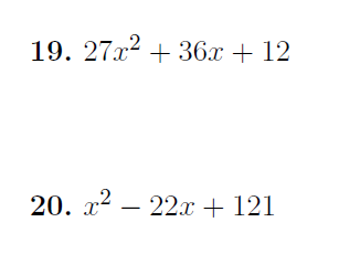 Factorising perfect squares worksheet (with solutions)