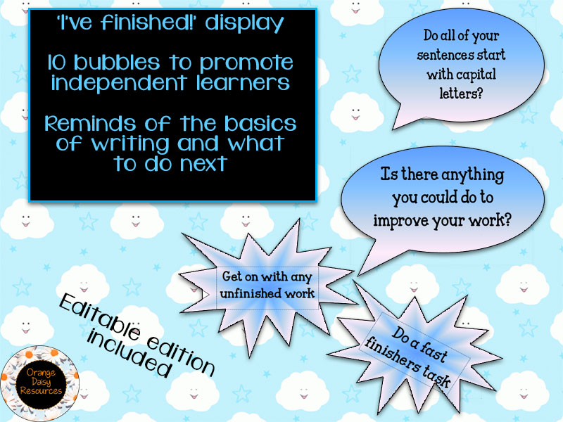 10 Display Bubbles for Early Finishers to Writing