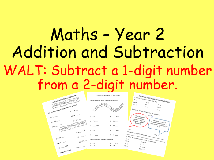 Subtracting a 1-digit from a 2-digit number Year 2