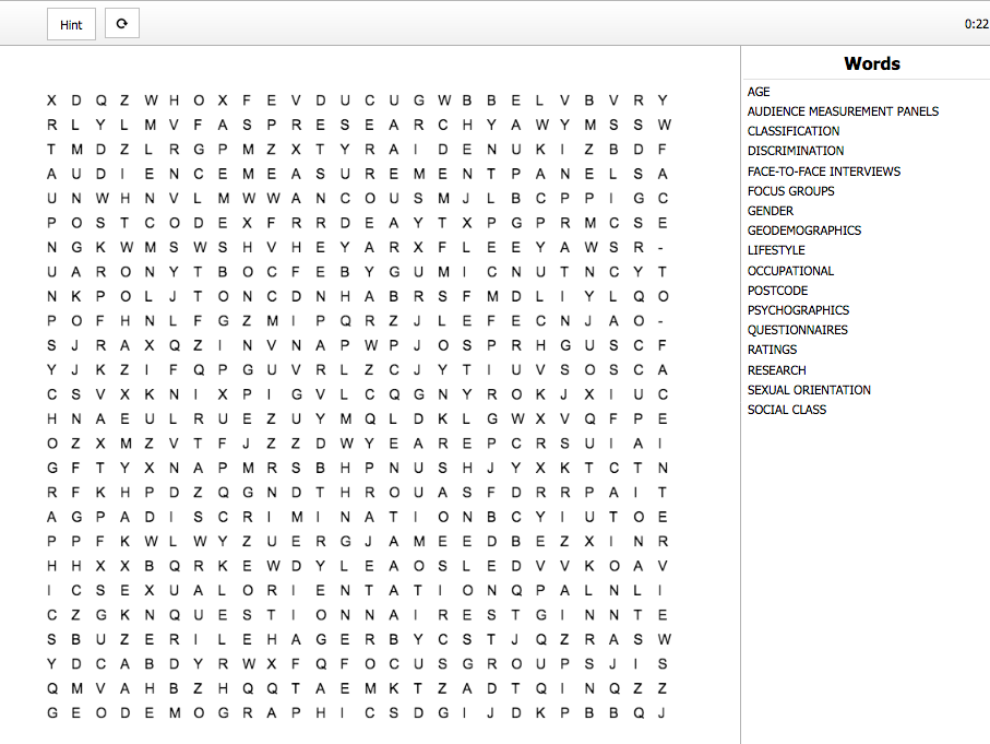 Creative Media Production Level 2 Unit 3 LO1 Word Search