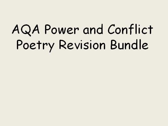 AQA Literature  Power and Conflict Bundle