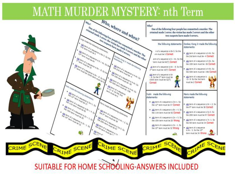 Maths Murder Mystery-Calculating the nth term of a sequence