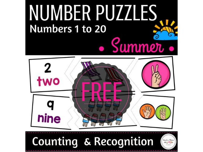 Summer Math Centre : Number Puzzles - 1 to 20 { Counting & Recognition }