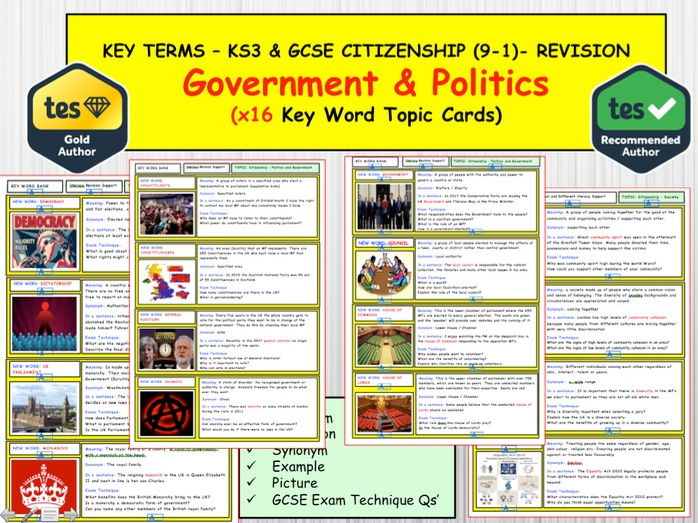 Governments and Politics  x16 Key term word topic cards KS3 and GCSE CITIZENSHIP 9-1