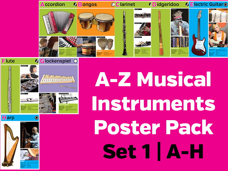 A-Z Musical Instruments Poster Pack Set 1: A-H