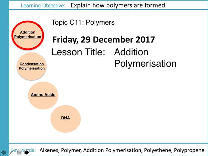 AQA GCSE: C11 Polymers: L1 Addition Polymerisation
