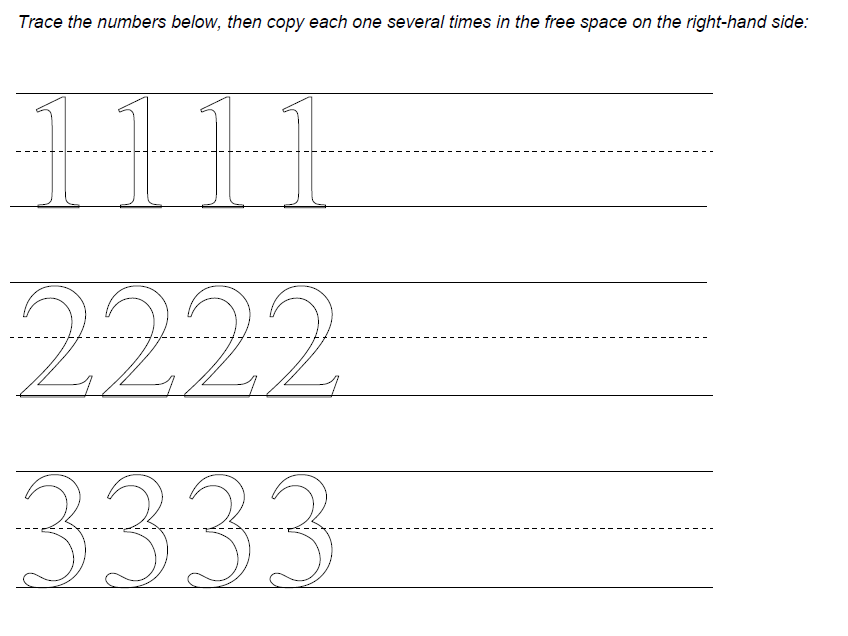 Test Your Grammar Skills Trace Numbers – with Lines (1 to 5)