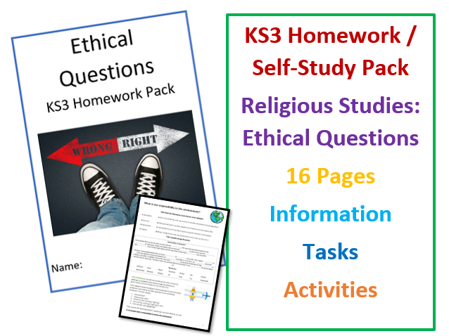 KS3 Religious Studies Ethical Questions Workbook for Self-Study