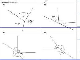 MISSING ANGLES - straight line - on a point - whole turn- ks2 year 5 & 6 SATS- WORK SHEET ONLY