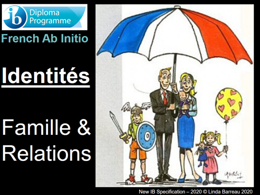 IB French Ab Initio - Identity - Family & Relationships (List, Speak, Read, Writ, French culture)