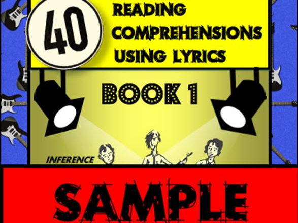 FREE SAMPLE - 40 Reading Comprehensions Using Lyrics Book 1 - Mr A, Mr C  and Mr D Present