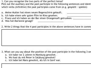 German Perfect Tense - 5 page workbook, ideal for cover, revision, homework