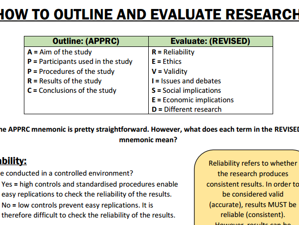 How to outline and evaluate psychological research. Suitable for AQA A-level psychology.