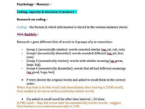 Memory Notes (AQA Psychology A-Level)