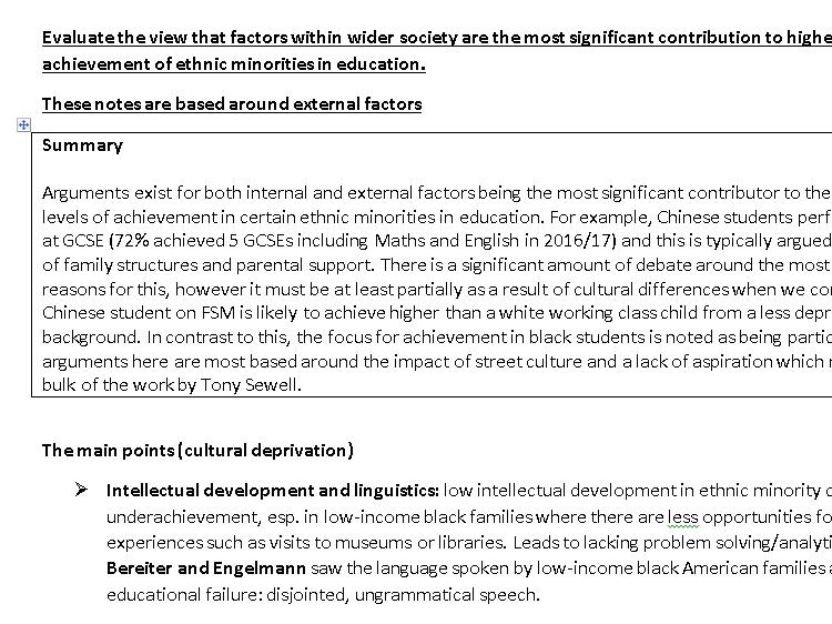 AS A-LEVEL AQA SOCIOLOGY EDUCATION NOTES