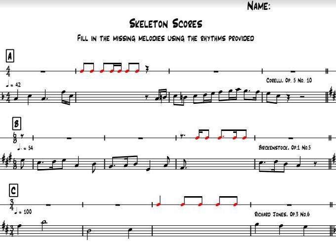 Skeleton Scores - Music GCSE Melody Notation