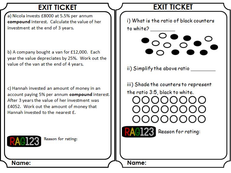 Ratio & Proportion Exit Tickets