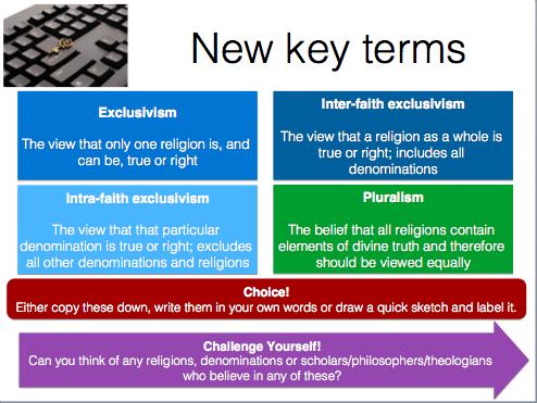 OCR Religious Studies GCSE exclusivism and pluralism