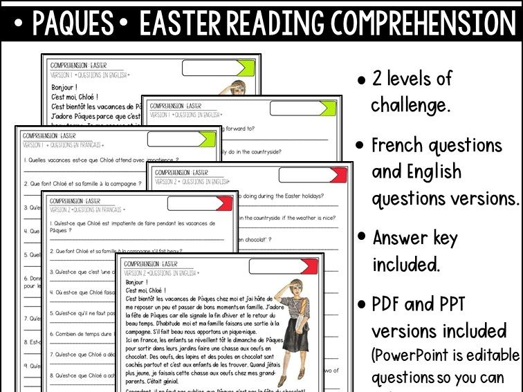 French Reading comprehension Easter Paques