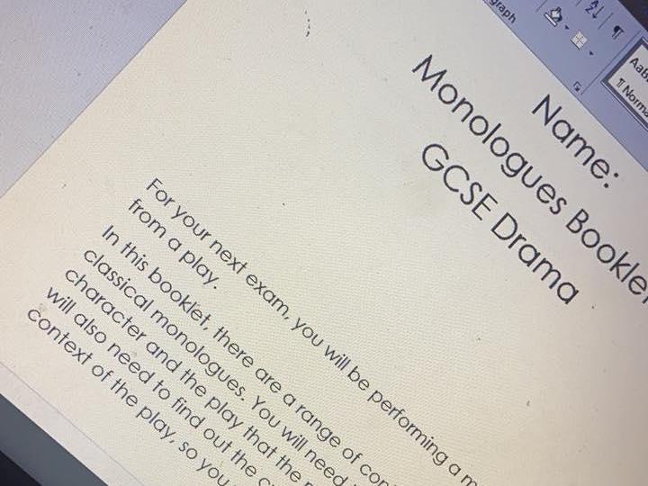 GCSE Drama Monologue Booklet