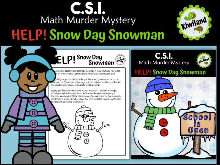 CSI Math Murder Mystery - Snow Day Snowman