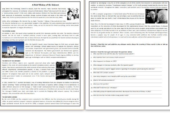 Preview A Text Worksheet : A brief history of the internet reading comprehension