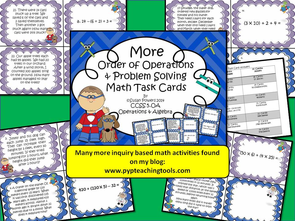Order of Operations with Problem Solving Task Cards