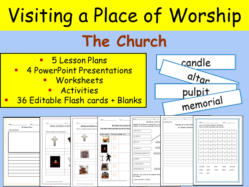 christianity visiting a place of worship church flash cards worksheets writing keystage. Black Bedroom Furniture Sets. Home Design Ideas