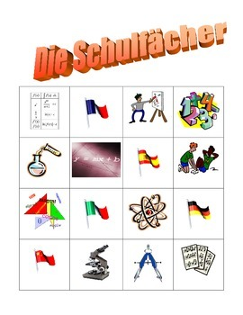 Schulfacher (School subjects in German) Bingo game