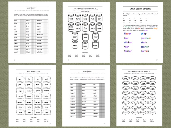 Phonics Intervention Workbook for 1-1 Support - R Controlled Vowels