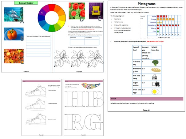 Colour theory unit 5 lessons, pictogram, pictographs, info-graphics,  colour wheel. Asessement FB