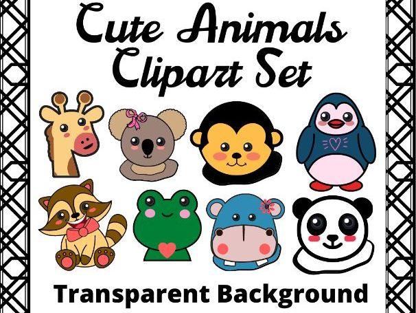 Cute Animals Clipart Set - Transparent Background
