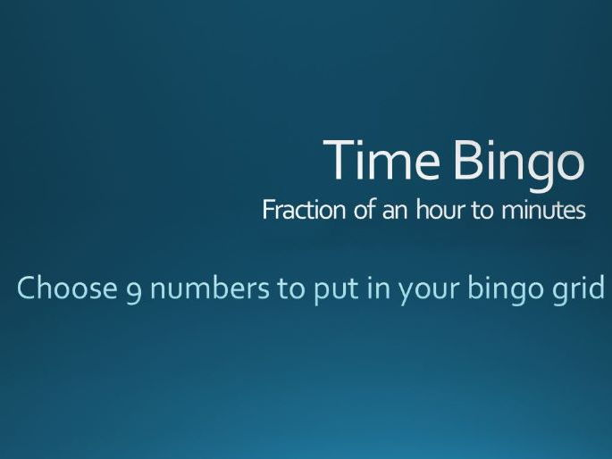 FRACTION of an HOUR Bingo