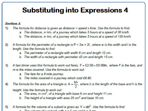 Substituting into Formulae Woksheet 4