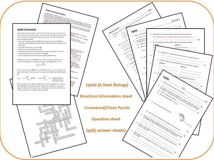 Lipids (A-level Biology) - Crossword; Question sheet; Structures info sheet