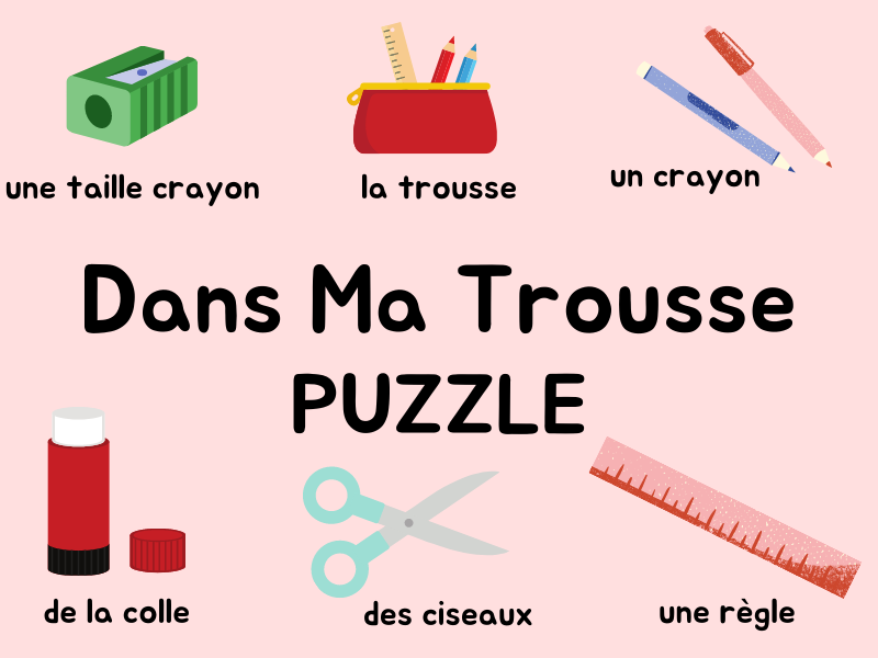 French Puzzle Pencil Case /Class Objects