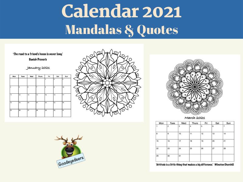 Calendar 2021 - Mandalas and Quotes