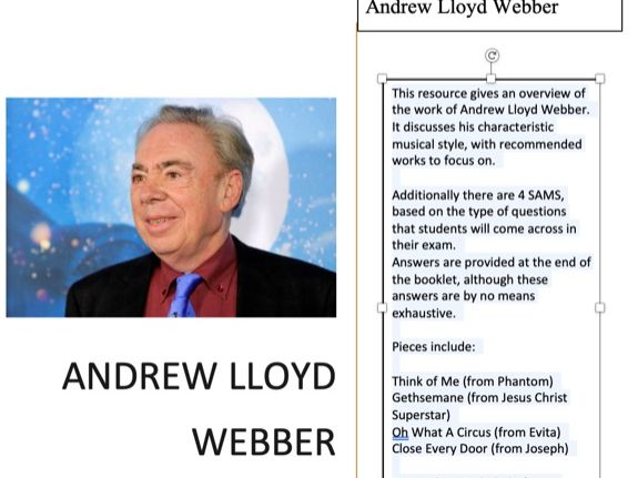 EDUQAS As Level Musical Theatre - Andrew Lloyd Webber