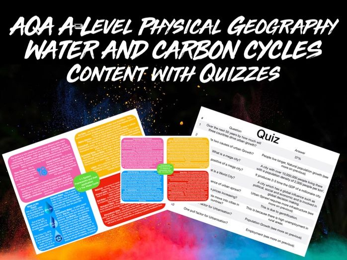 AQA A-LEVEL Geography Water and Carbon Cycles Content with Quiz