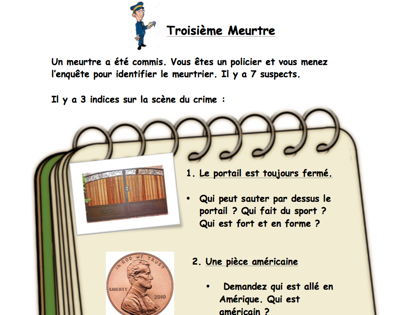 Enquête Criminelle Oral Game (Revision of questions: nationality, pets, jobs etc.) [EDITABLE]