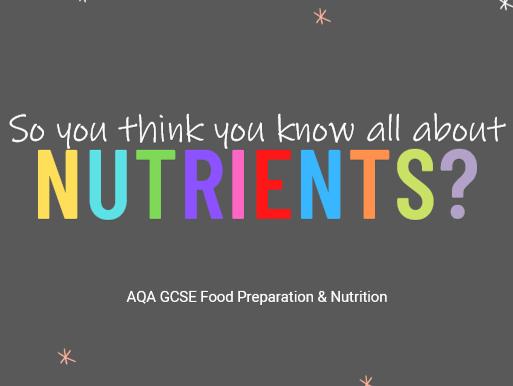 GCSE Starter activity: Nutrients