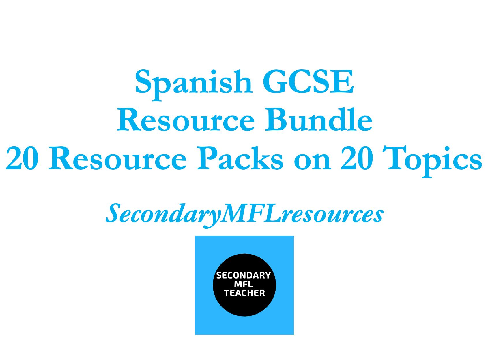 GCSE Spanish Bundle: 20 Resource Packs on 20 topics