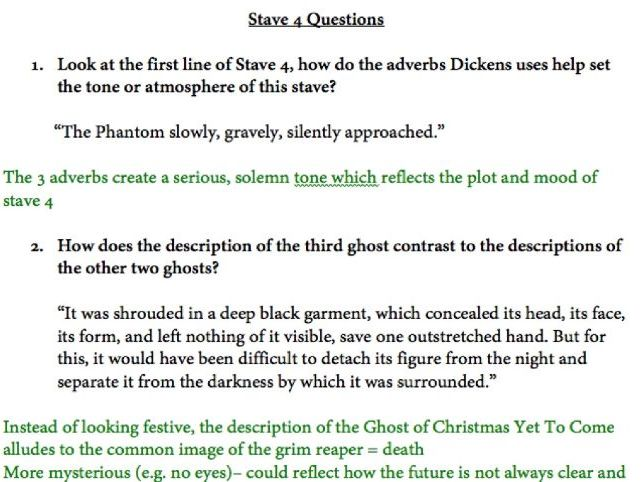 A Christmas Carol Stave 4 Questions with suggested answers | Teaching Resources